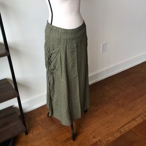 UO Army green peasants skirt
